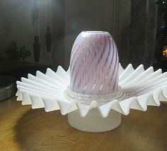 Antique vintage ruffled edge fairy lamp light base bottom. only Fairy Lamp, Fairy Lights, Lamp Light, Glass Art, Lamps, Base, Make It Yourself, Antiques, Vintage