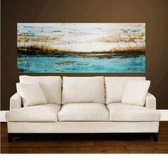 """morning blue 72"""" xxl original large abstract  painting from listed artist jolina anthony super fast to them by express delivery"""