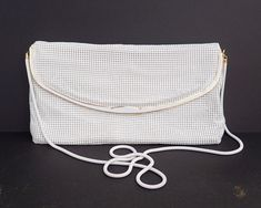 White Glomesh evening shoulder bag / crossbody bag / clutch purse, original box and warranty, made in Australia, 1984 by CardCurios on Etsy Clutch Purse, Crossbody Bag, Purchase Card, Willow Pattern, Metal Trim, Satin Material, White Enamel, Beautiful Necklaces, Mesh