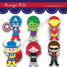 Printable Clipart Clip Art Digital PDF PNG File - Superhero Avenger Kids Boy from Wonderful Dreamland on TeachersNotebook.com -  (6 pages)