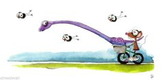 "Original Watercolor Folk Art Whimsy Illustration Dinosaur Crow Mouse Bike 4x8"" | eBay"