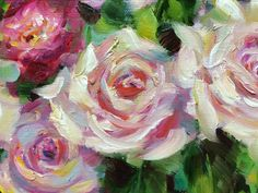 Rose Garden detail, oil painting by Laura Kirste Campbell