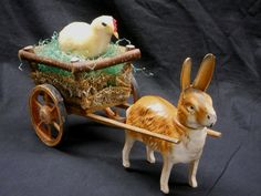 ANTIQUE/VINTAGE GERMAN STANDING RABBIT CANDY CONTAINER W/WOODEN CART/LOOFAH SIDE