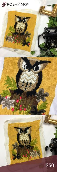 "Vintage cross stitch owl 70s Embroidered art Owl cross stitch completed made in the 70s  Height: 17""  Length: 13"" vintage Other"