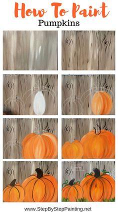 Fall Canvas Painting, Autumn Painting, Autumn Art, Tole Painting, Diy Painting, Canvas Canvas, Acrylic Canvas, How To Paint Canvas, Pumpkin Canvas Painting