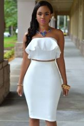 White Ruffle Two-piece Skirt Set