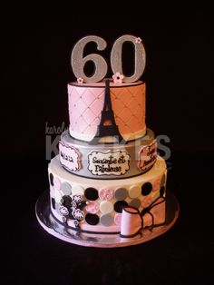 Oui, Oui!  Paris themed 60th birthday KAKE!  Top and bottom tiers iced in buttercream. Middle tier covered in marshmallow fondant (MMF) and airbrushed silver.  MMF poodle, Eiffel Tower and decorations.