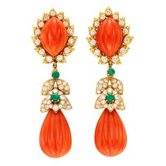DAVID WEBB A Pair of Coral, Emerald and Diamond Ear Pendants | From a unique collection of vintage drop earrings at https://www.1stdibs.com/jewelry/earrings/drop-earrings/