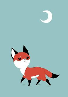 Moon Fox Art Print by freeminds Art And Illustration, Fuchs Illustration, Illustrations, Fox Print, Woodland Creatures, Spirit Animal, Saatchi Art, Character Design, Artsy