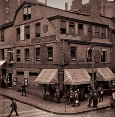 """Throughout the mid 1800s, Boston's """"Old Corner Bookstore"""" (circa 1712, Boston's first brick-made building) was the home of Ticknor and Fields Publishing and was a gathering place for literary giants such as Henry Wadsworth Longfellow, Ralph Waldo Emerson and Charles Dickens."""