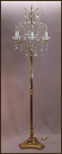 Vintage French Gilt Bronze Beaded Crystal Chandelier Floor Lamp Candelabra