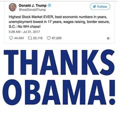Thanks Obama!!!! Hahah can't wait to see how many trump obsessed sheep post how obama is the devil etc...President Trump's economy officially begins on October 1, 2017.