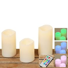 The Real Wax LED Flickering Flameless Candles, Set of 3, 4', 4 7/8' and 5 7/8' Tall, Remote Control, 12 Color Options, 4 and 8 H Timer, AAA Batteries (not included) By Whole House Worlds *** Don't get left behind, see this great product offer  : Candles Holders Decor