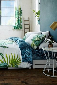 Tropical Leaf 56 TC Percale Duvet Cover Set
