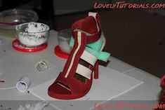 The Cake Engineer: How to Make a Gum Paste Stiletto, 2011 Version :) Girl Shower Cake, Fondant Baby Shoes, Shoe Template, Wafer Paper Flowers, Fondant Animals, Shoe Cakes, Baby Shawer, Fondant Toppers, Sugar Craft