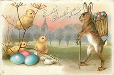 EASTER GREETINGS  rabbit with basket of eggs on back leans on stick, talks to three chicks, Easter eggs below