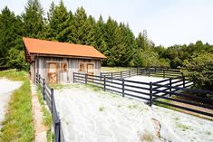 Small rustic horse barn