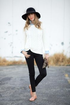 Fall outfit: chambray shirt, fisherman's sweater, black jeans, oxfords, and a little leopard.