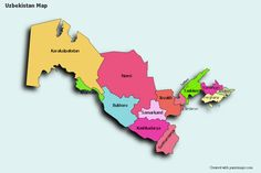 Create Custom Uzbekistan Map Chart with Online, Free Map Maker. Color Uzbekistan Map with your own statistical data. Data Visualization on Uzbekistan Map. Statistical Data, Map Maker, Free Maps, Photo Maps, Data Visualization, Chart, Maps, Map Creator