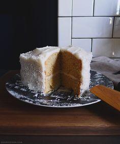 Vanilla-lemon cake with coconut cream cheese frosting. - Door Sixteen