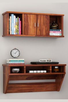 Canyon is defined as a space-savvy study table due to its wall-mounted design. The design is thoroughly equipped with three storage shelves below the table-top. To add more to its storage options, there is a wall-mounted storage unit with a cabinet in the middle and shelves on each of its sides and is made up of durable Sheesham wood, which is known for its wooden grain strength. #studytable #furniture #moderndesign #workspace