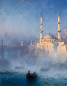 View of Constantinople and the Tophane Mosque, 1884 Artist Ivan Aivazovsky Brest musée des beaux-arts Russian Painting, Russian Art, Stürmische See, Grand Palais, Beautiful Paintings, Beautiful Landscapes, Islamic Art, Les Oeuvres, Art History