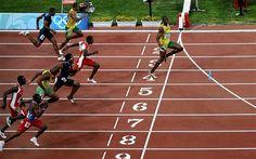 Usain Bolt winning the 100m final in Beijing