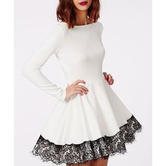 Women's Chic Long Sleeve Lace Round Neck A-Line Dress (WHITE,S) in Long Sleeve Dresses | DressLily.com