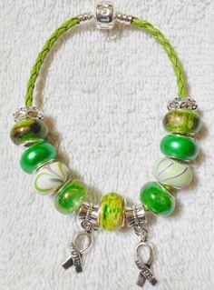 Kidney Cancer Bipolar Awareness Hope Ribbon Charms Leather Bracelet 102