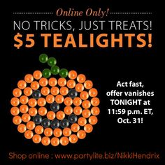 Happy Halloween! Celebrate with 50% off PartyLite Tealights for 24 hours ONLY!  #CANDLE #SALE #DEAL #PARTYLITE #SOY   #HALLOWEEN #PUMPKIN #TEALIGHTS