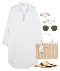 A fashion look from January 2018 featuring shirt dress, flat mules shoes and prada tote. Browse and shop related looks. Edgy Outfits, Summer Outfits, Fashion Outfits, Womens Fashion, Outing Outfit, Look Girl, Modest Wear, Polyvore Outfits, Look Fashion