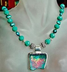 Teal Color Crystals & Pearls Necklace with Teal Green by camexinc, $78.00