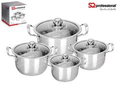 "4pc CASSEROLE SET ""QUARTZ"" - SQ Professional brings you its brand new flagship 'Gems' range of cookware. This sets sparkles with the brilliance of the gemstones after which it is named. Made from high quality stainless steel, they come complete with vented, tempered glass lids. You can be certain that a set from the Gems range will be the talking point in any kitchen. Dimensions: 3.7L - ø20cm x 12cm 