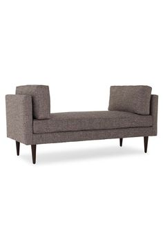 Sit for a spell on an easygoing bench that's brimming with quintessential mid-century details such as sleek lines and prim shelter arms softened by plump cushions. Cushions, Ottoman Bench, Joybird, Living Furniture, Mid Century Style, Foyer Decorating, Bench, Chaise Lounge, Love Seat