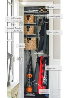 Organized Foyer Coat Closet- Before and After Makeover Make the most of your limited closet storage space. Don't miss this organized foyer coat closet- Before and After makeover, using a simple Elfa system. Small Coat Closet, Front Closet, Hallway Closet, Utility Closet, Organize Coat Closet, Small Closets, Closet Space, Hall Closet Organization, Closet Storage