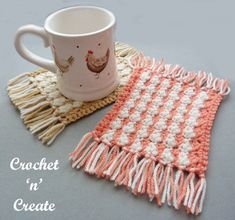 Crochet mug rug - The perfect item to give as a little gift or to make for yourself, use these coasters to give a splash of color on your side..........