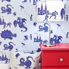Blue Dragon Wallpaper for Children | Ere Be Dragons | PaperBoy Wallpaper for Kids Bedrooms