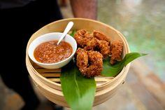 Macadamia nut prawns Luau Theme, Hawaii Wedding, Prawn, Catering, Sugar, Events, Chicken, Beach, Food