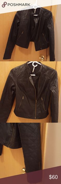 Women's Free People black jacket ... size 2 Women's Free People black jacket faux leather in size 2. I got it off Poshmark but is a little too tight for me :/ Quilted look arms w zipper detail!! Gently worn . Free People Jackets & Coats
