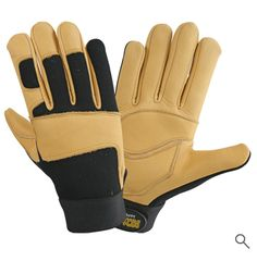 Mechanic Gloves, Leather Industry, Safety Gloves, Leather Gloves, Cowhide Leather, Palm, Closure, Spandex, Beige