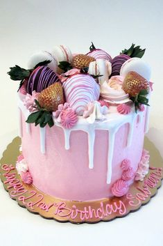 Pink Drip Cake with Chocolate Covered Strawberries by Creative Cakes Bakery in Tinley Park and Naperville Serving the Southwest and Western Suburbs. Strawberry Birthday Cake, Birthday Cake For Mom, Adult Birthday Cakes, Beautiful Birthday Cakes, Strawberry Cakes, 28th Birthday, Drip Cakes, Strawberry Cake Decorations, Mom Cake