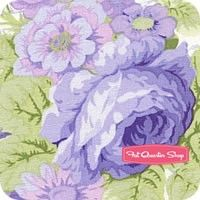 Sausalito Cottage Periwinkle Rose Repeat with Words Yardage <br/>SKU