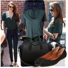 A fashion look from April 2013 featuring tee-shirt, blue jeans y black flats. Browse and shop related looks.
