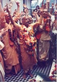 Srila Prabhupada leading the blissful chant of Hare Krishna