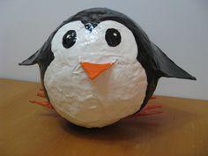 2012- Penguin #3 paper mache piggy bank