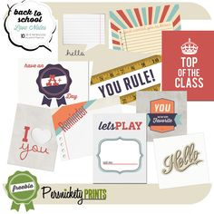 Back to School love notes (or project life cards)-- free printable from Persnickety Prints Blog