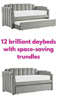 Grey velvet daybed with trundle