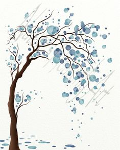 Blue Decor Watercolor Tree Art Print Poster, Abstract Tree Wall Art, Love Birds, Circles Modern Wall Decor 8 x 10 Blue watercolor Leaf Wall Art, Tree Wall Art, Abstract Wall Art, Tree Art, Abstract Trees, Watercolor Trees, Watercolor Paintings, Watercolor Circles, Watercolour