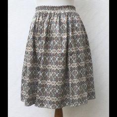 New Eshakti Tile Print Full Skirt Size 10 New Eshakti fifties inspired full flared skirt w/ elastic banded waist and ruched pleats. Size 10 Simply pulls on, elastic waist, side seam pockets. Cotton/spandex, woven sateen, light stretch, midweight. Machine wash. Eshakti Skirts
