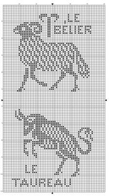 Zodiac 02 ~ Taurus and Aries Cross Stitch Freebies, Cross Stitch Samplers, Cross Stitching, Cross Stitch Embroidery, Cross Stitch Patterns, Filet Crochet Charts, Crochet Cross, Knitting Charts, Needlepoint Patterns